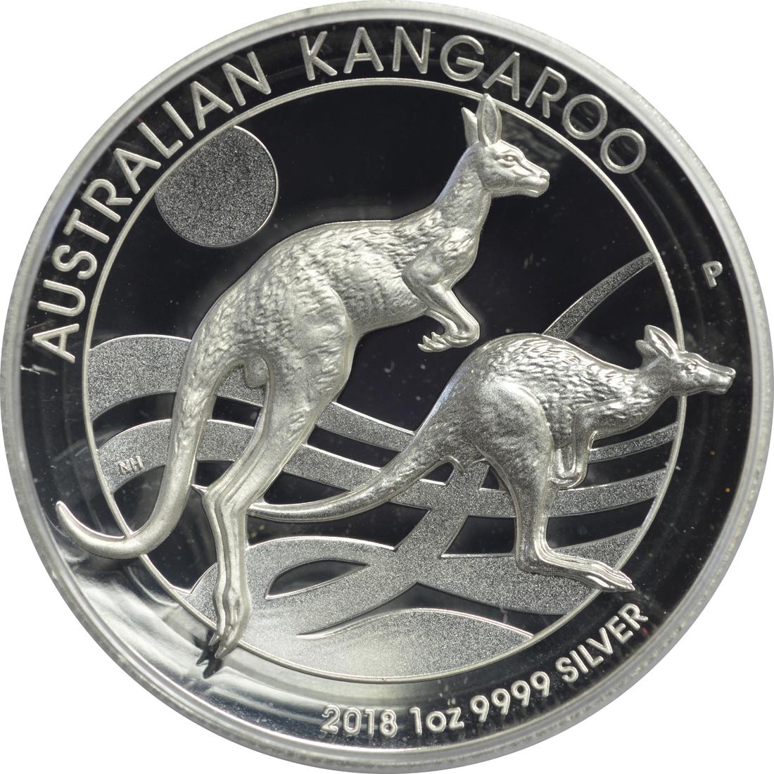 Vorderseite:Australien : 1 Dollar Känguru Highrelief  2018 PP