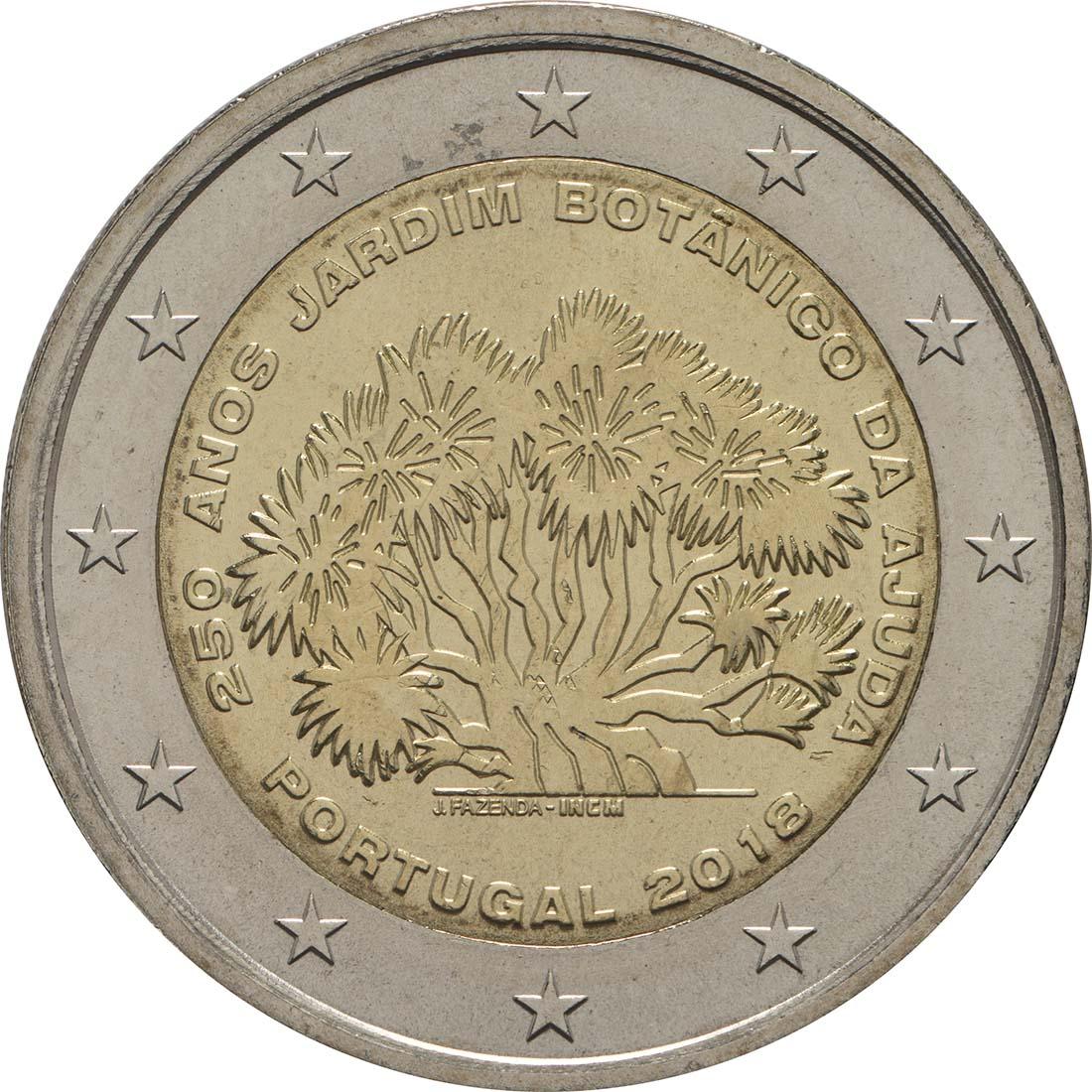 Rückseite:Portugal : 2 Euro 250 Jahre Botanischer Garten von Ajuda  2018 bfr
