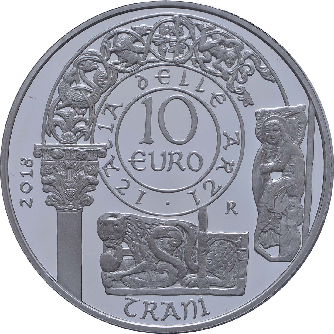 Rückseite:Italien : 10 Euro Apulien Kathedrale von Trani  2018 PP