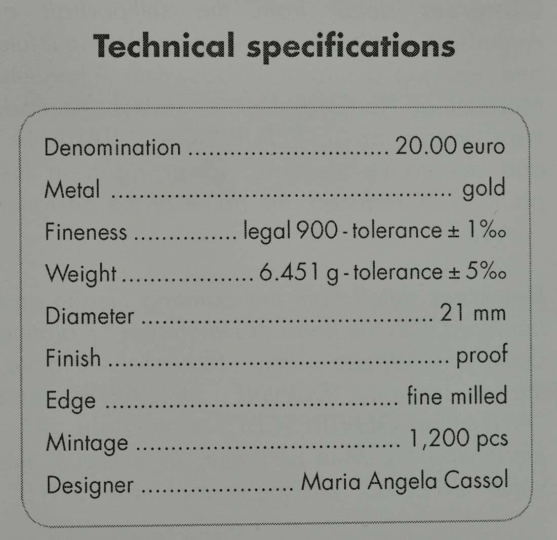 Zertifikat:Italien : 20 Euro Artemisia Gentileschi  2018 PP