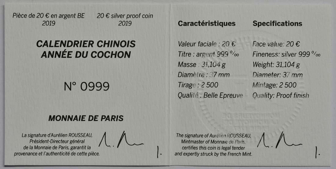 Zertifikat:Frankreich : 20 Euro Jahr des Schweins  2019 PP