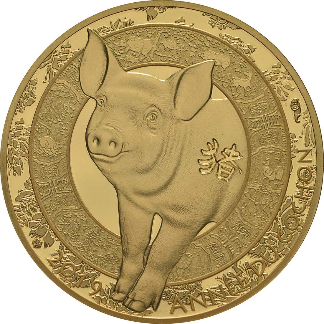 Vorderseite:Frankreich : 50 Euro Jahr des Schweines  2019 PP