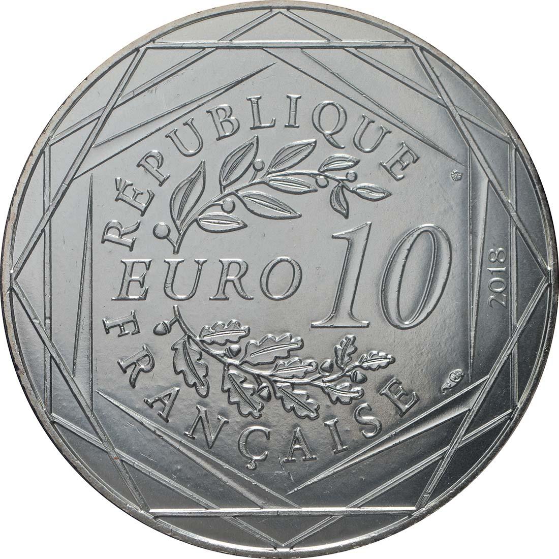Rückseite:Frankreich : 10 Euro Frankreich ist Fußball-Weltmeister 2018  2018 bfr