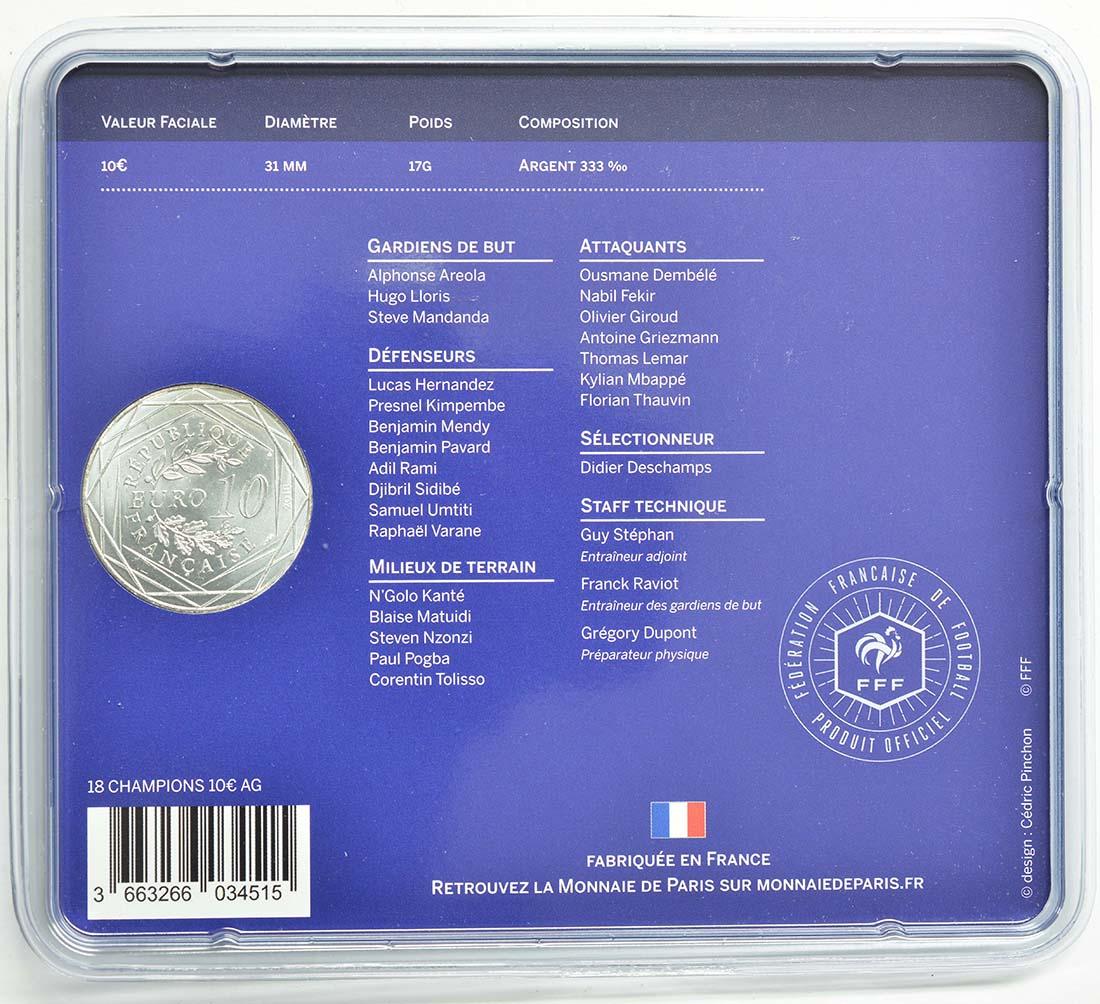 Zertifikat:Frankreich : 10 Euro Frankreich ist Fußball-Weltmeister 2018  2018 bfr