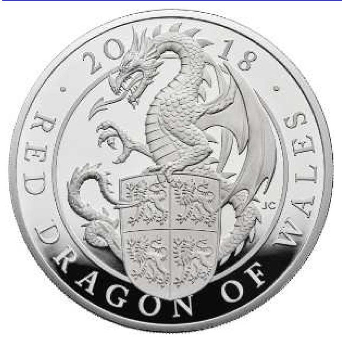 Übersicht:Großbritannien : 2 Pfund The Queen's Beasts Der rote Drache von Wales  2018 PP