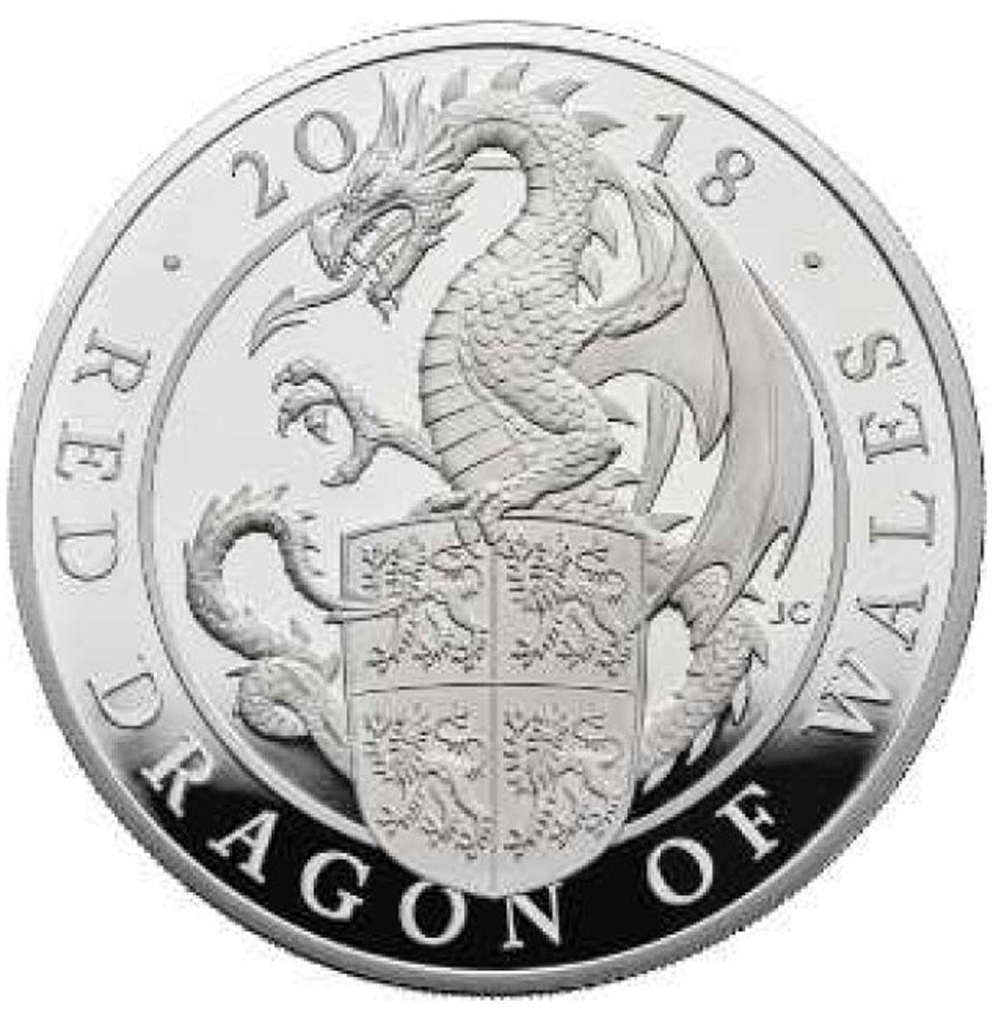 Lieferumfang:Großbritannien : 500 Pfund The Queen's Beasts Der rote Drache von Wales  2018 PP
