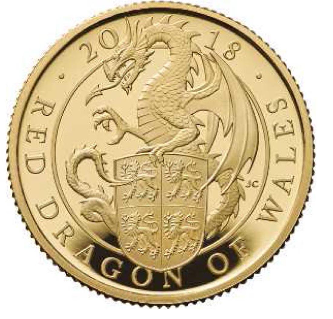 Übersicht:Großbritannien : 100 Pfund The Queen's Beasts Der rote Drache von Wales  2018 PP
