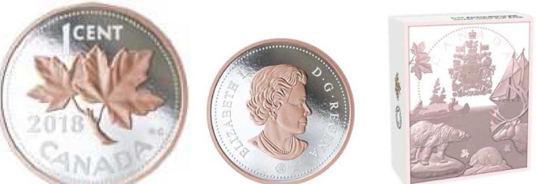 Lieferumfang:Kanada : 1 Cent Große Münzen - Ahornblätter  2018 PP