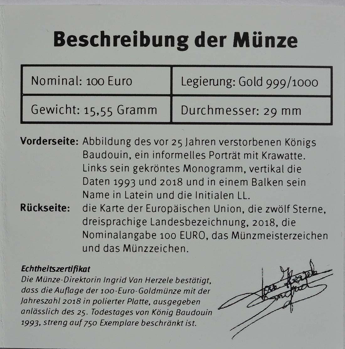 Zertifikat:Belgien : 100 Euro 25. Todestag König Baudouin  2018 PP