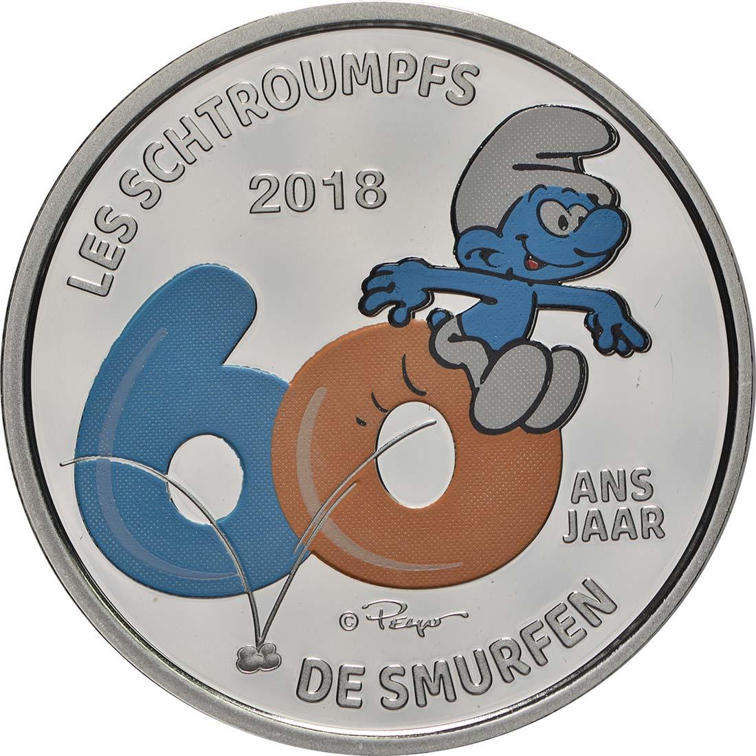 Vorderseite:Belgien : 5 Euro 60 Jahre Schlümpfe coloriert  2018 PP