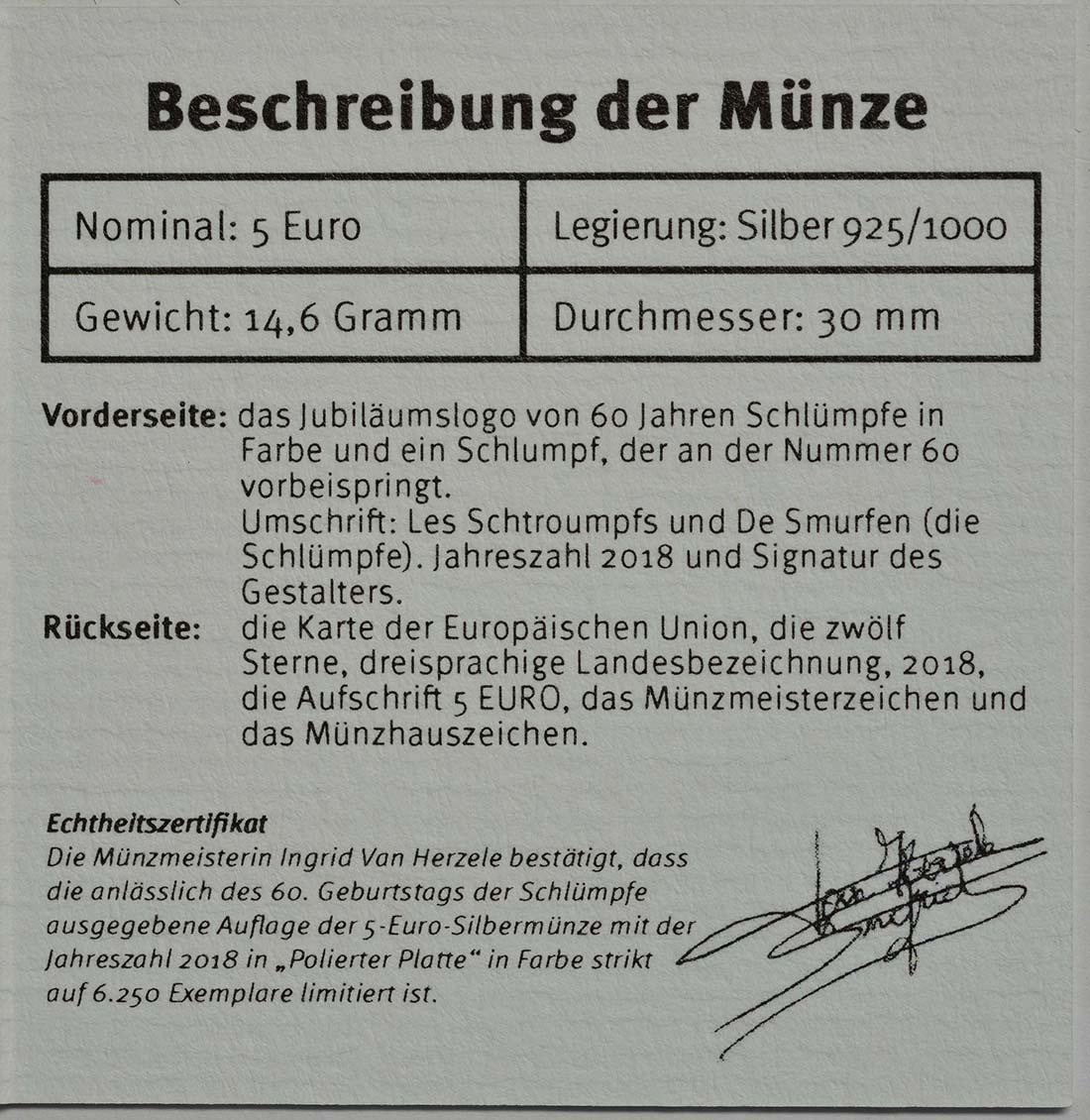 Zertifikat:Belgien : 5 Euro 60 Jahre Schlümpfe coloriert  2018 PP