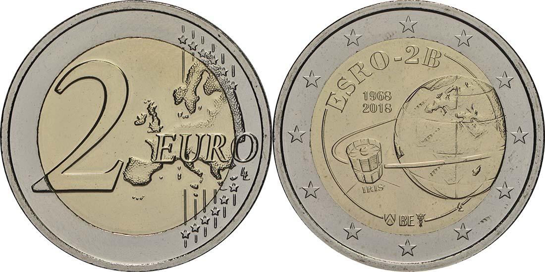 Lieferumfang:Belgien : 2 Euro ESRO-2B Satellit  2018 bfr