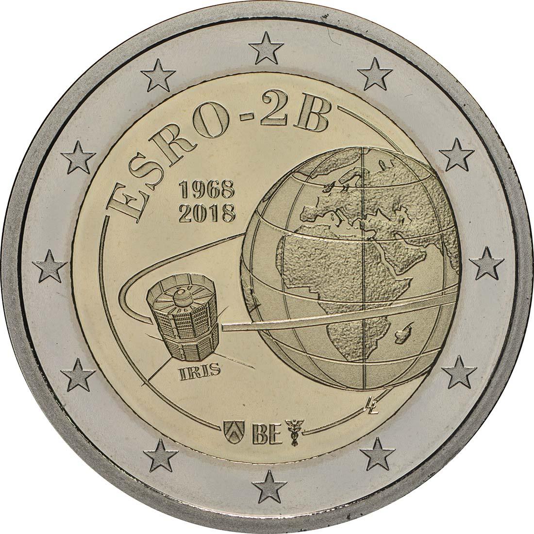 Rückseite:Belgien : 2 Euro ESRO-2B Satellit  2018 PP
