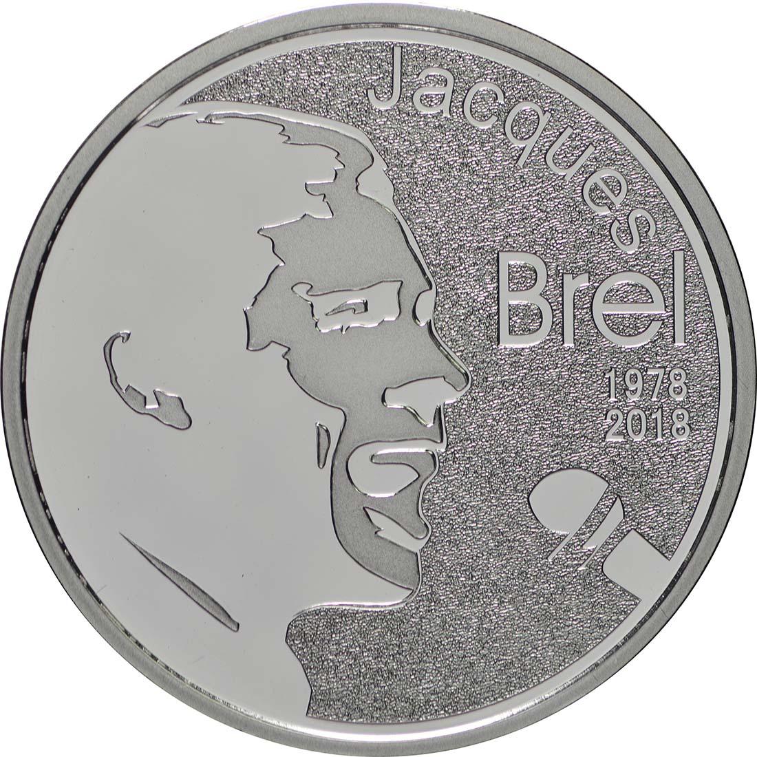 Vorderseite:Belgien : 10 Euro Jacques Brel  2018 PP