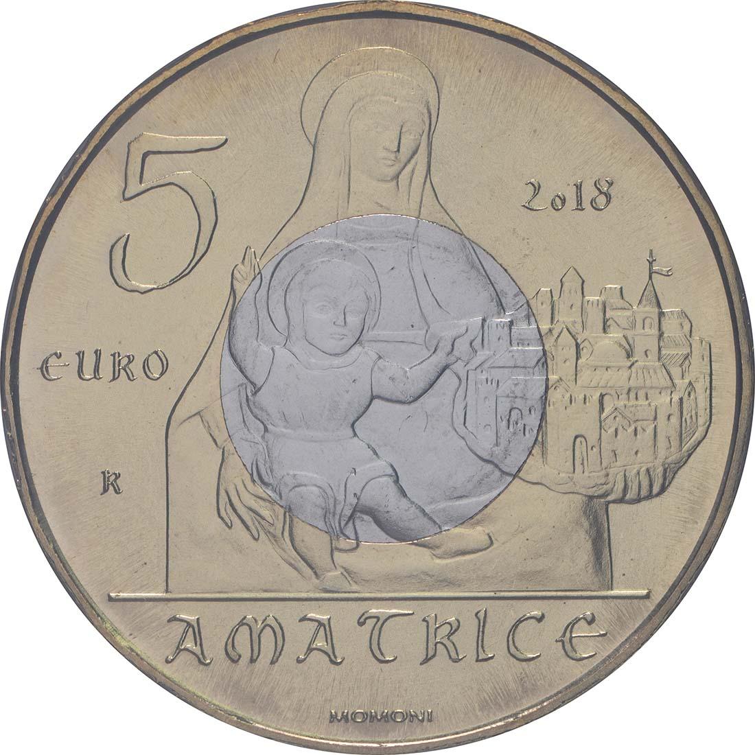 Vorderseite:Italien : 5 Euro Kunstschätze von Amatrice  2018 bfr