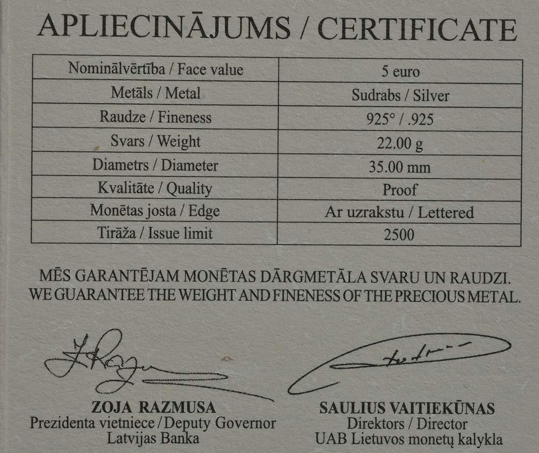 Zertifikat:Lettland : 5 Euro Kuronische Könige / Konini  2018 PP