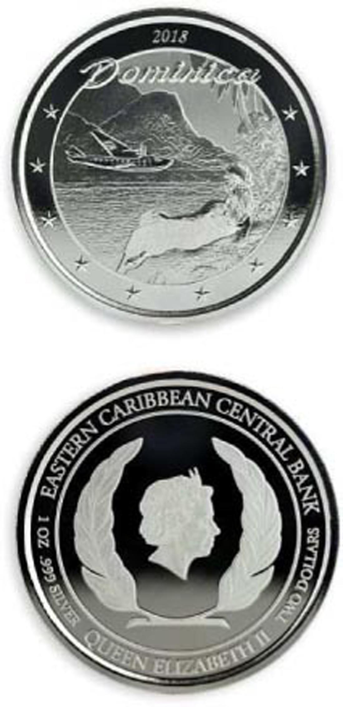 Lieferumfang:Dominica : 2 Dollar Dominica - Indel der Natur 1 oz in Kapsel  2018 Stgl.
