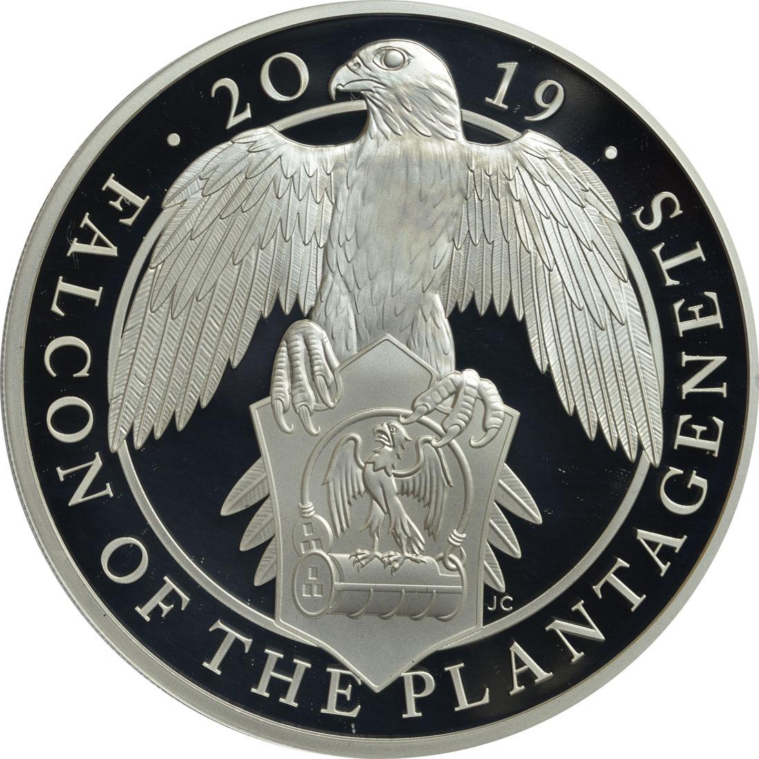 Vorderseite:Großbritannien : 10 Pfund The Queen's Beast - Falcon of the Plantagenets 5 Oz  2019 PP