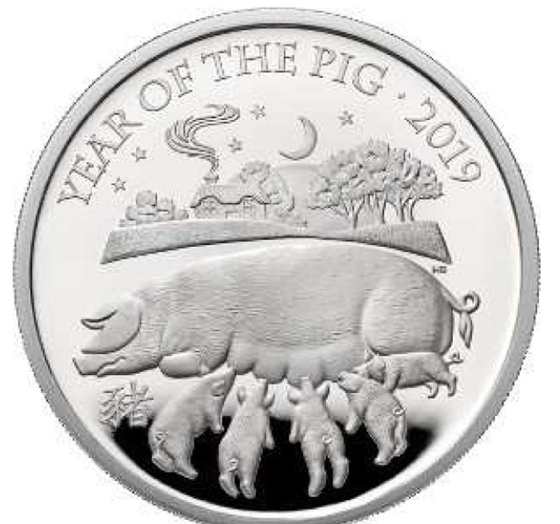 Lieferumfang:Großbritannien : 2 Pfund Year of the Pig 1oz  2019 PP