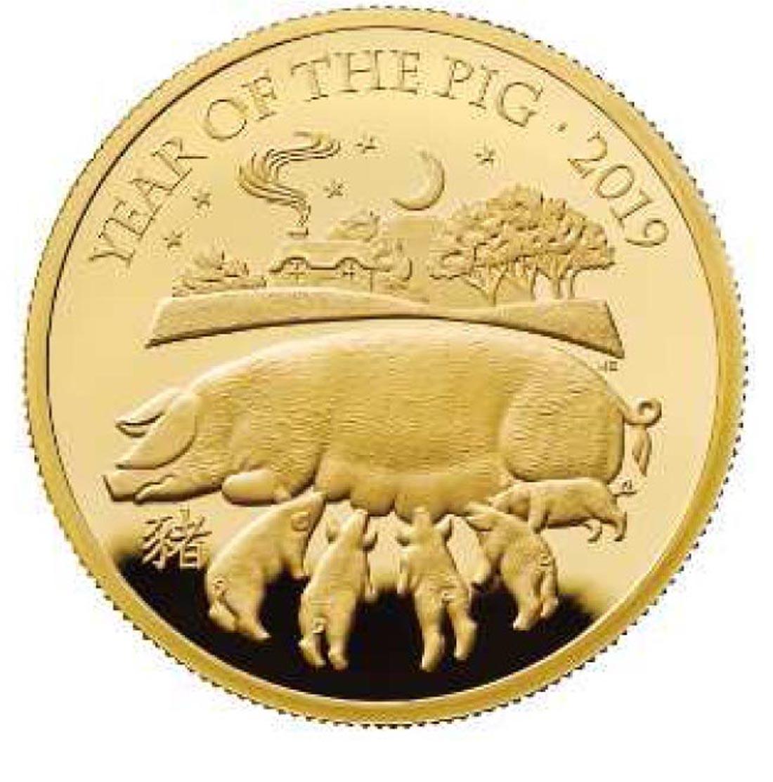 Lieferumfang:Großbritannien : 100 Pfund Year of the Pig 1 Oz  2019 PP