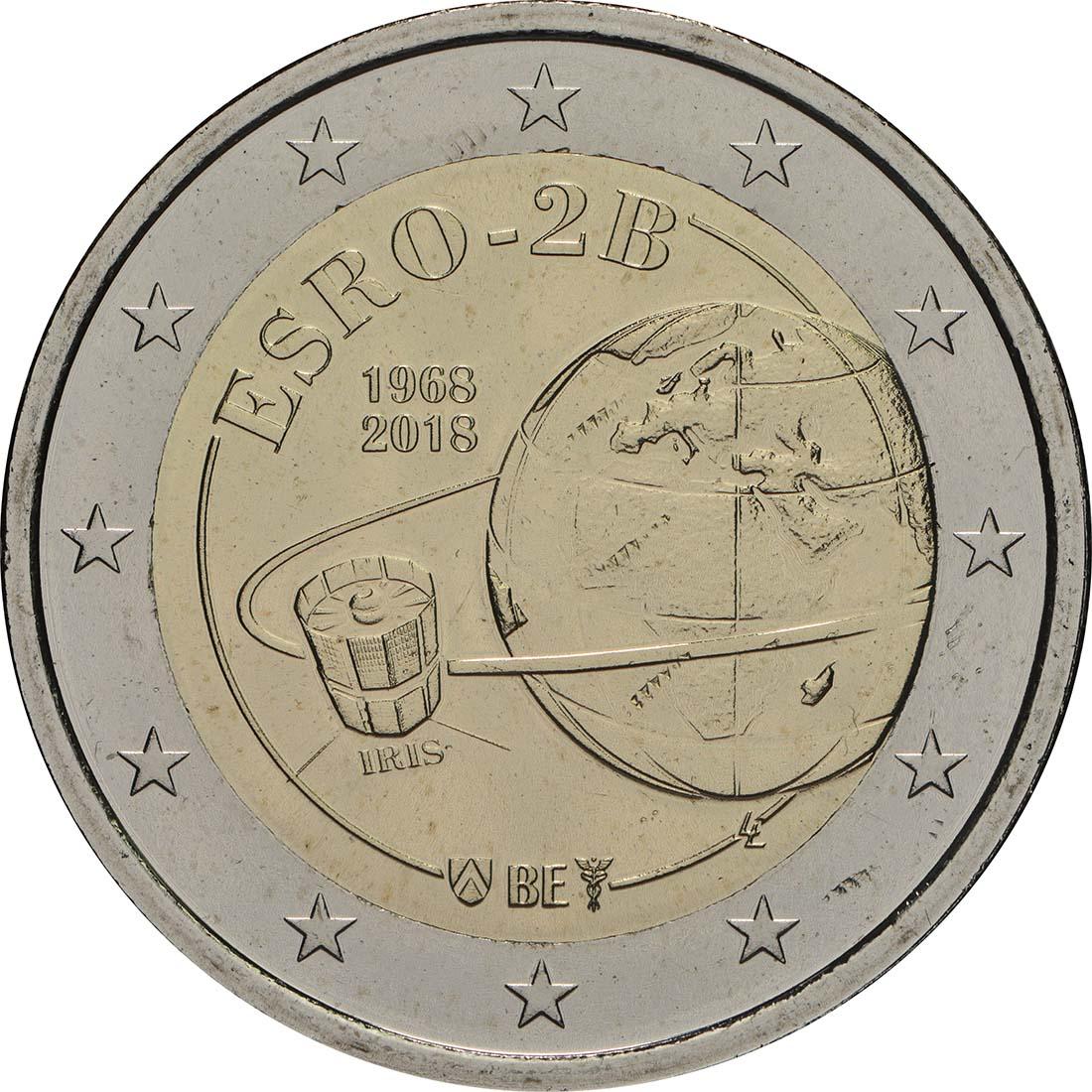 Rückseite:Belgien : 2 Euro ESRO-2B Satellit  2018 Stgl.