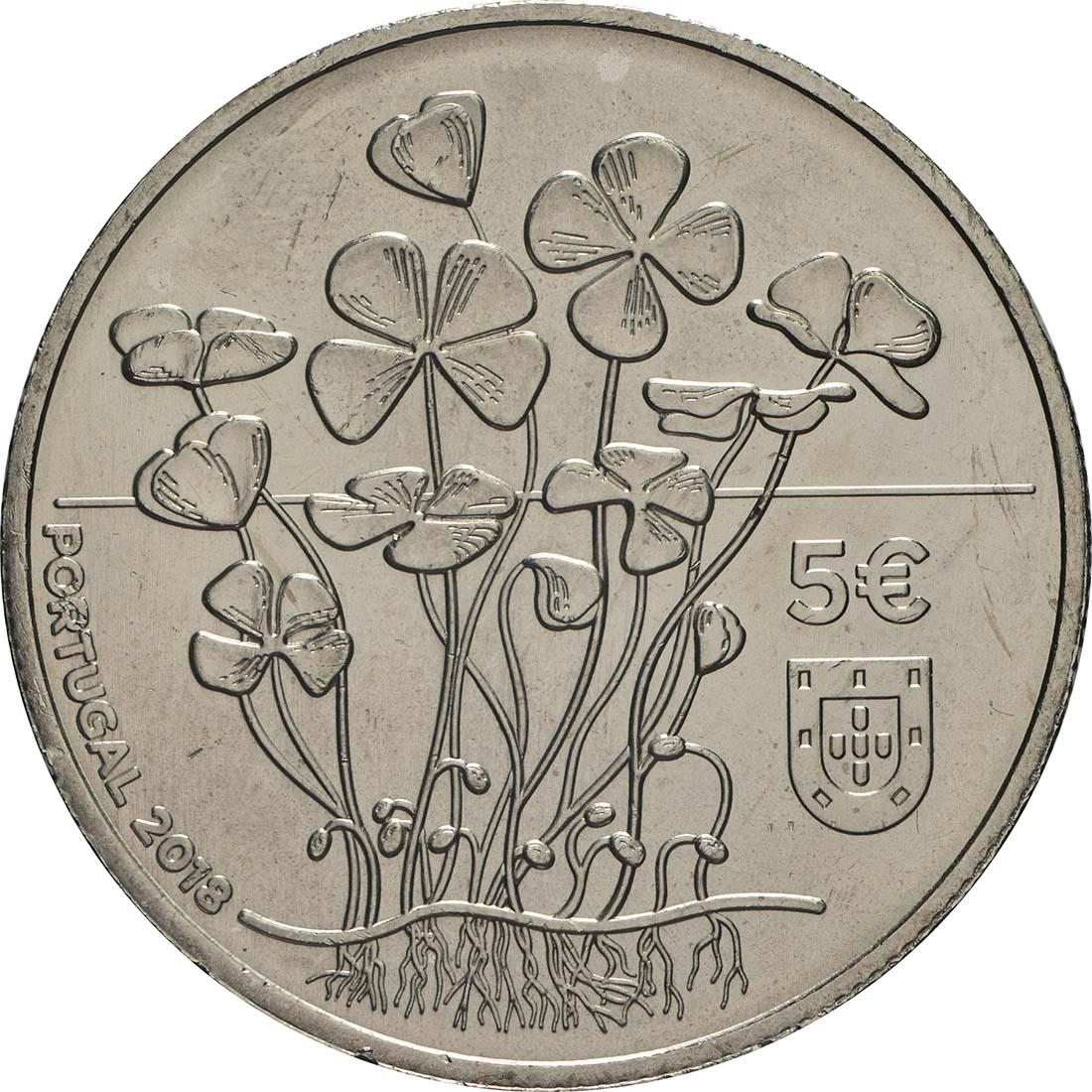 Rückseite:Portugal : 5 Euro Vierblättriges Kleeblatt  2018 Stgl.
