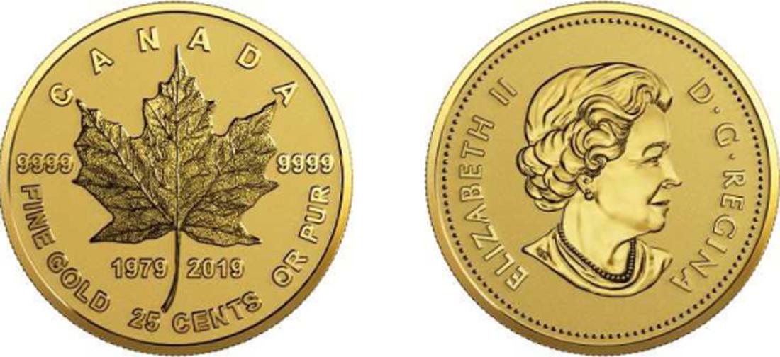 Kanada : 25 Cent 40 Jahre Maple Leaf Gold  2019 PP
