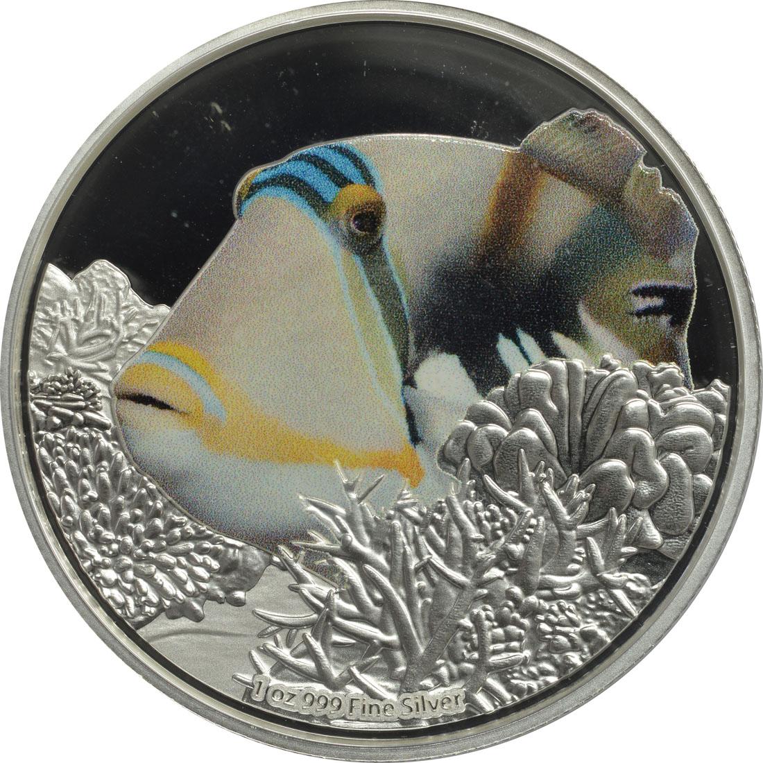 Vorderseite:Niue : 2 Dollar Drückerfisch - Fische des Riffs  2018 PP