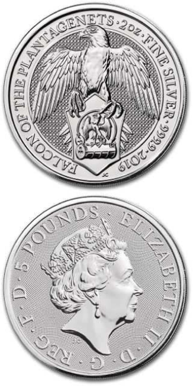 Lieferumfang:Großbritannien : 5 Pfund The Queen´s Beasts  - Falke  2019 Stgl.