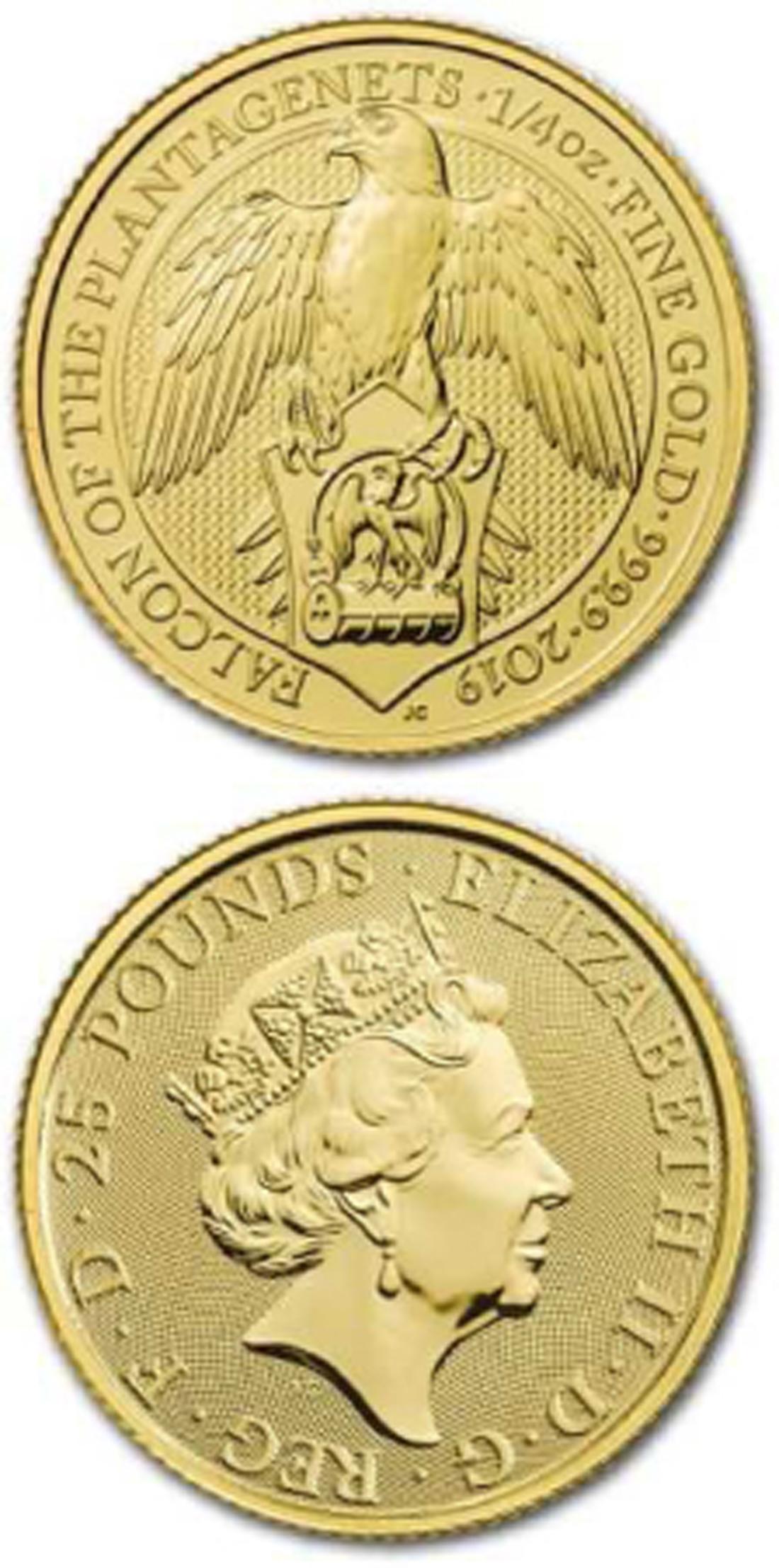 Lieferumfang:Großbritannien : 25 Pfund The Queen´s Beasts  - Falke  2019 Stgl.