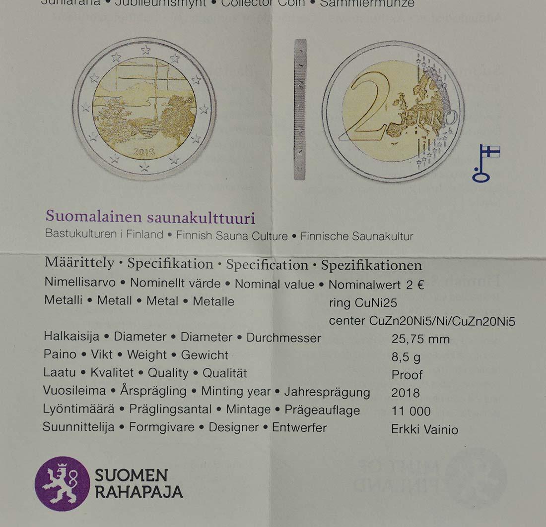 Zertifikat:Finnland : 2 Euro Finnische Saunakultur  2018 PP