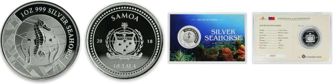 Lieferumfang:Samoa : 10 Tala Seepferdchen 1 oz in Coincard - Reverse Proof  2018 PP