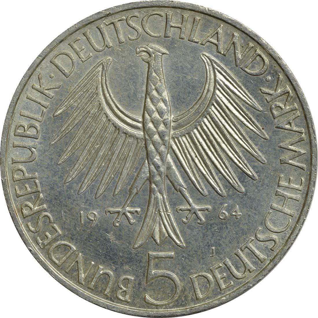 Rückseite:Deutschland : 5 DM Fichte  1964 f.vz.