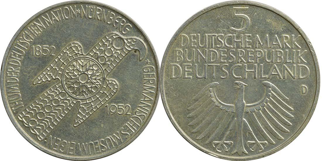 Übersicht:Deutschland : 5 DM Germanisches Museum  1952 ss/vz.