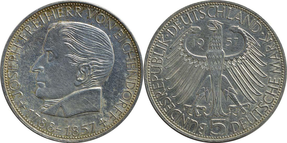 Übersicht:Deutschland : 5 DM Eichendorff  1957 ss/vz.