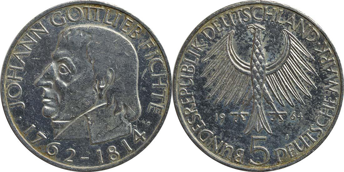 Übersicht:Deutschland : 5 DM Fichte  1964 ss.