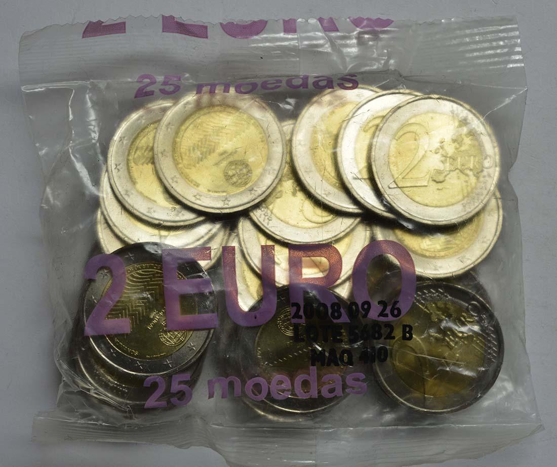 Lieferumfang:Portugal : 2 Euro 25x2 Euro Menschenrechte im Originalbeutel  2008 Stgl.