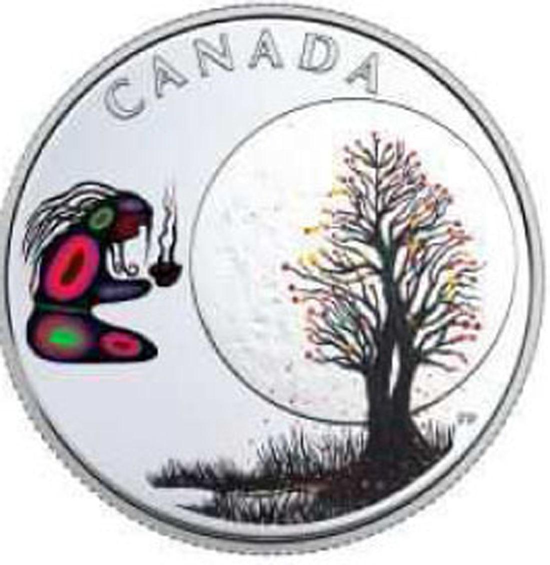Übersicht:Kanada : 3 Dollar Falling Leaves Moon - Die 13 Lehren von Grand. Moon  2018 PP