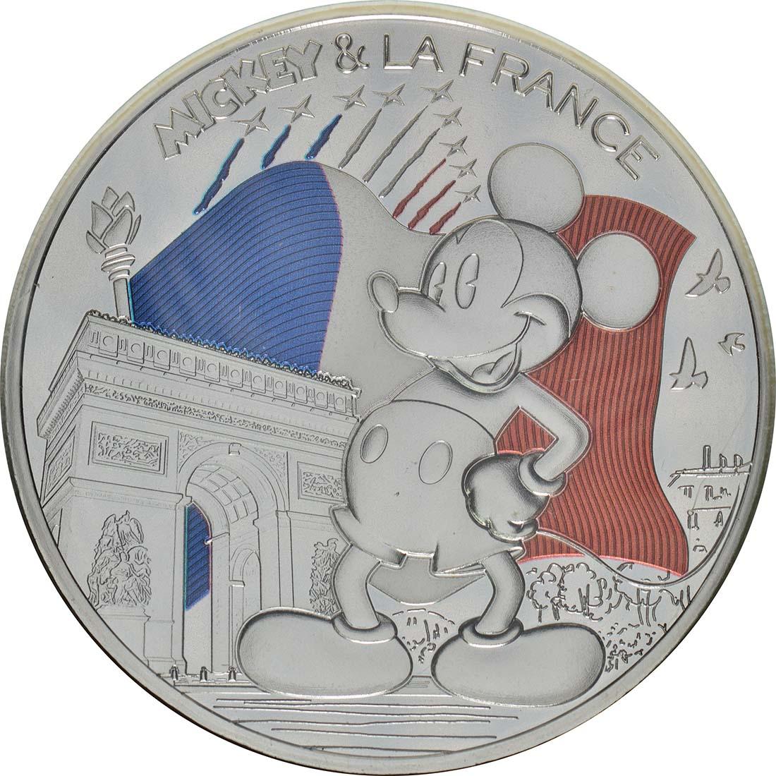 Vorderseite:Frankreich : 50 Euro Mickey auf der Champs Elysées coloriert 2/2  2018 bfr