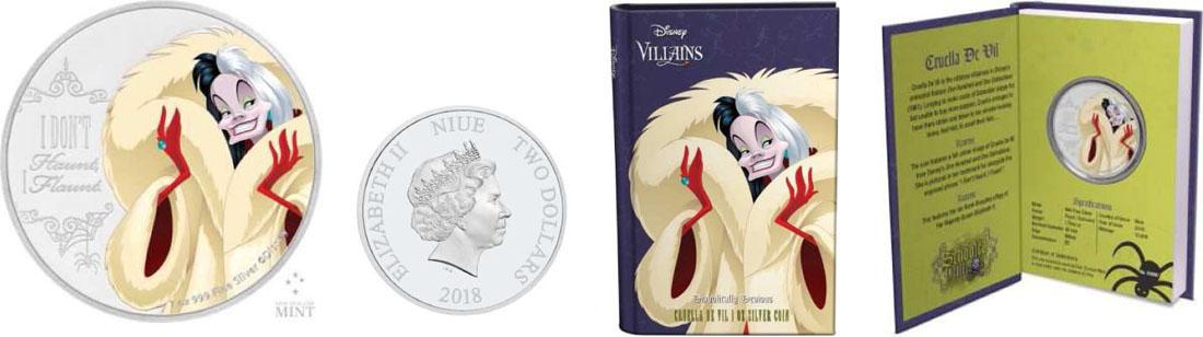 Lieferumfang:Niue : 2 Dolllar Disney Bösewichte – Cruella De Vil  2018 PP