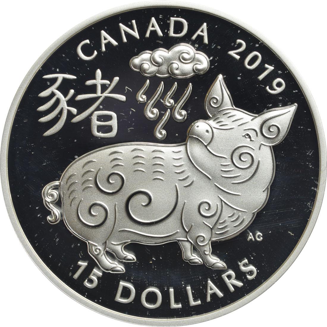 Vorderseite:Kanada : 15 Dollar Jahr des Schweins - rund  2019 Stgl.