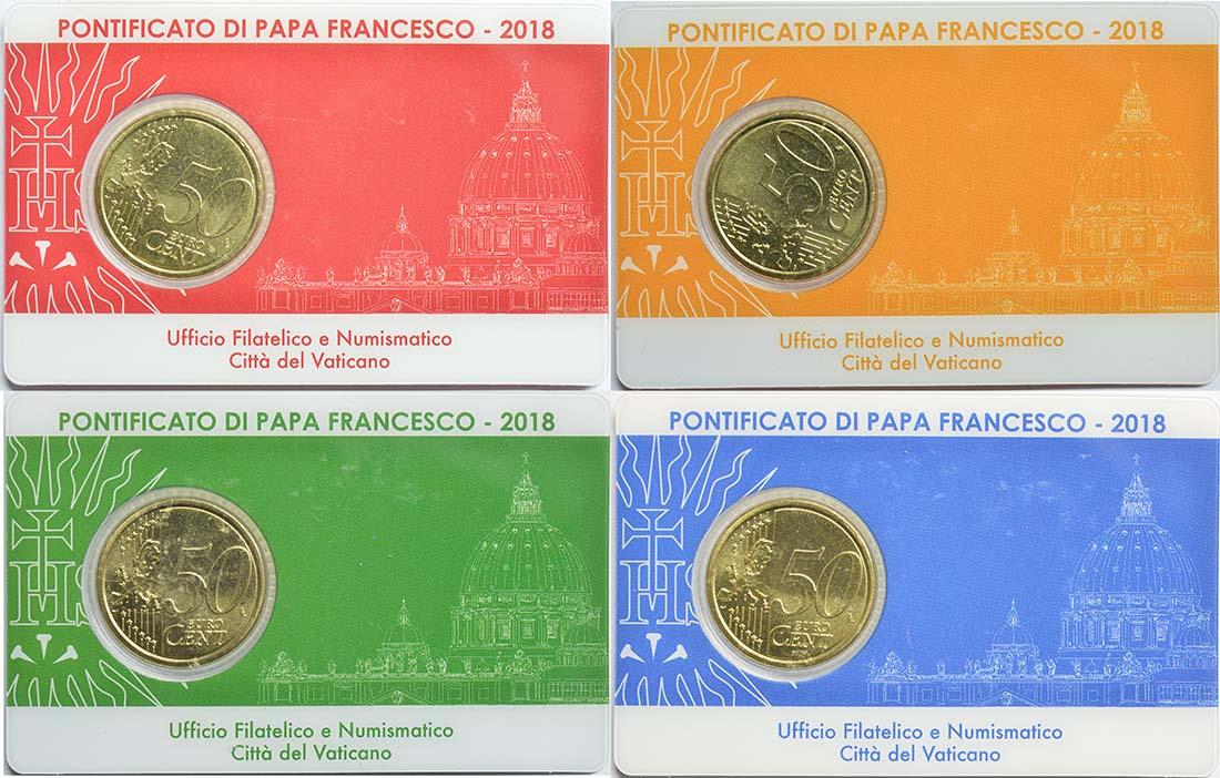 Rückseite:Vatikan : 50 Cent 4x 50 Cent + Briefmarken 0,95 1,0 2,30 3,0 Euro in Coincard  2018 bfr