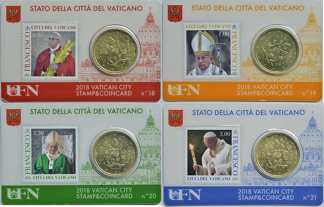 Lieferumfang:Vatikan : 50 Cent 4x 50 Cent + Briefmarken 0,95 1,0 2,30 3,0 Euro in Coincard  2018 bfr