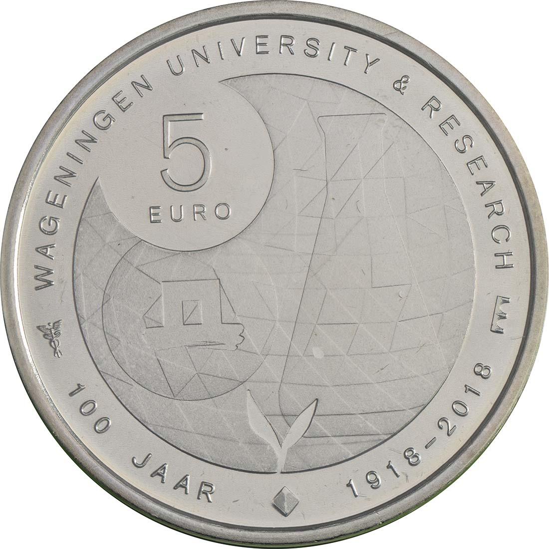 Rückseite:Niederlande : 5 Euro Uni Wageningen  2018 bfr