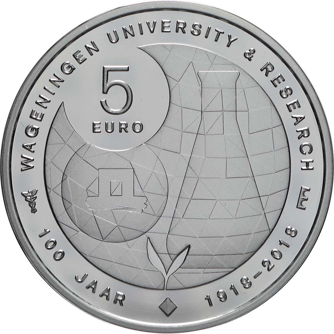 Rückseite:Niederlande : 5 Euro Uni Wageningen  2018 PP