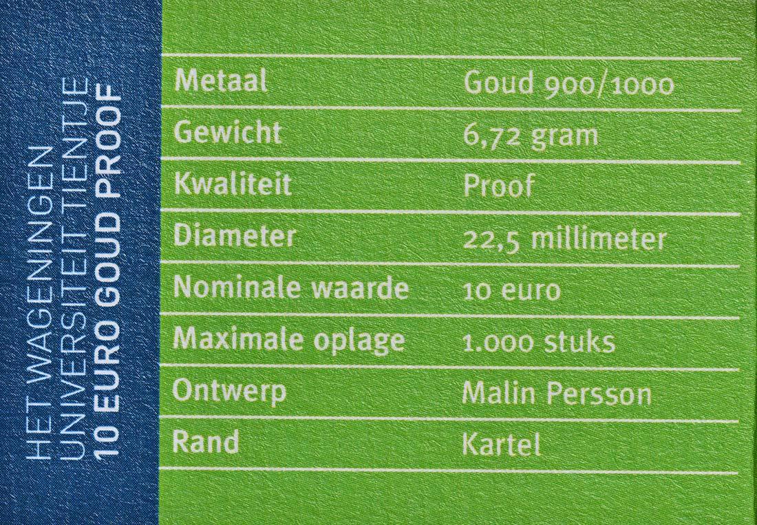 Zertifikat:Niederlande : 10 Euro Uni Wageningen  2018 PP