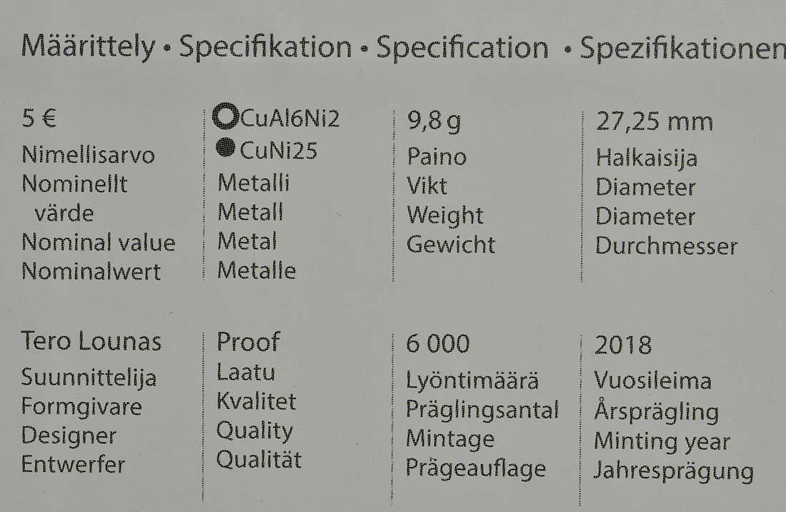 Zertifikat:Finnland : 5 Euro Koivisto  2018 PP