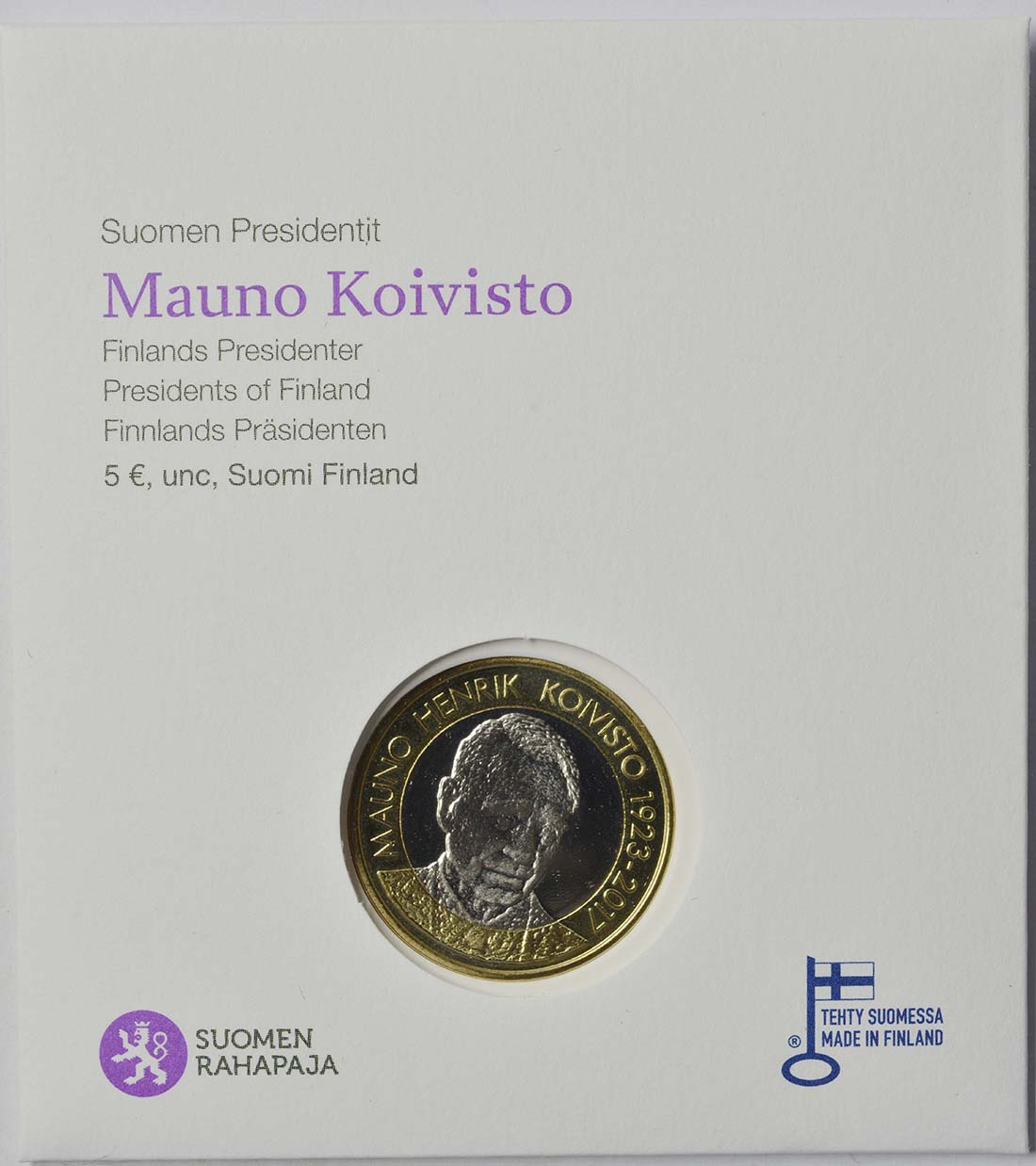 Lieferumfang:Finnland : 5 Euro Koivisto  2018 Stgl.