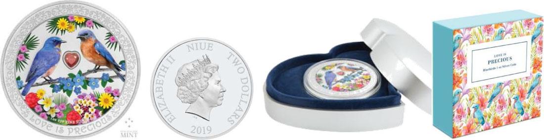 Lieferumfang:Niue : 2 Dollar Liebe ist wertvoll - 2 Bluebirds mit Zirkonia  2019 PP