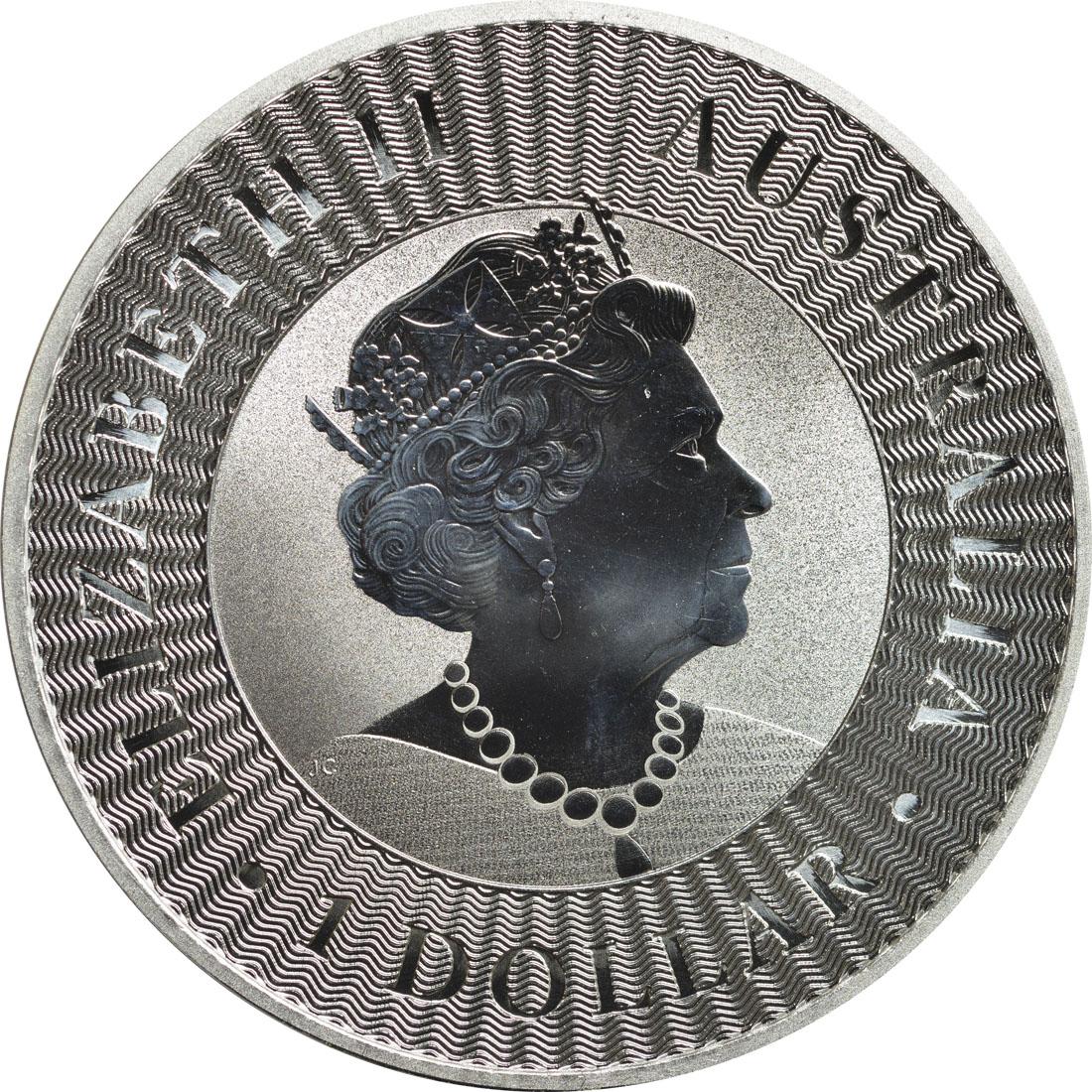 Rückseite:Australien : 1 Dollar Känguru 1 oz - Perth Mint Variante Si  2019 Stgl.
